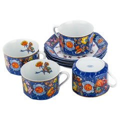 Hermès Blue Teacups & Saucers, Set of 4