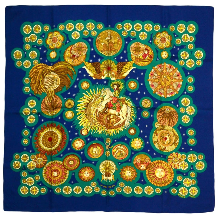 "Hermes Blue, Teal, Gold ""Le Roy Soleil"" 90cm Silk Scarf designed by Annie Faivre For Sale"