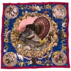 Hermès Blue Texas Wildlife Silk Scarf