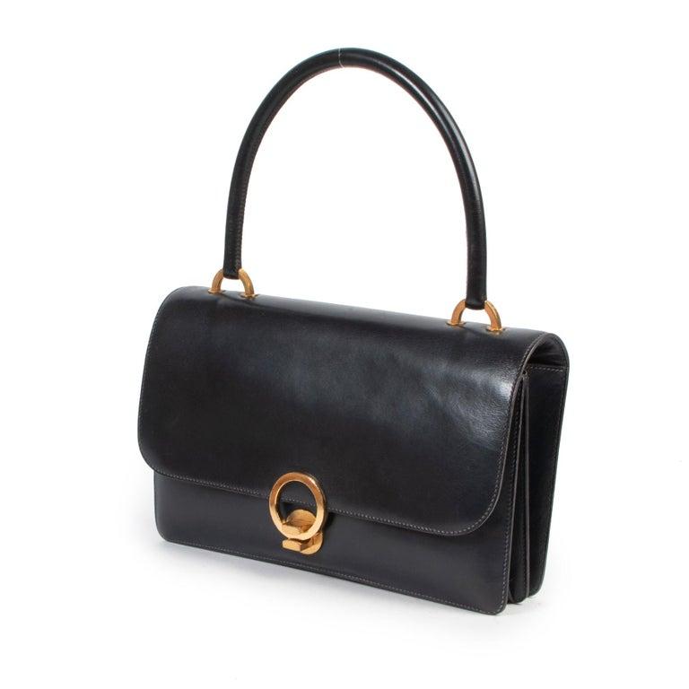 Black Hermès Blue Vintage Ring  Bag For Sale
