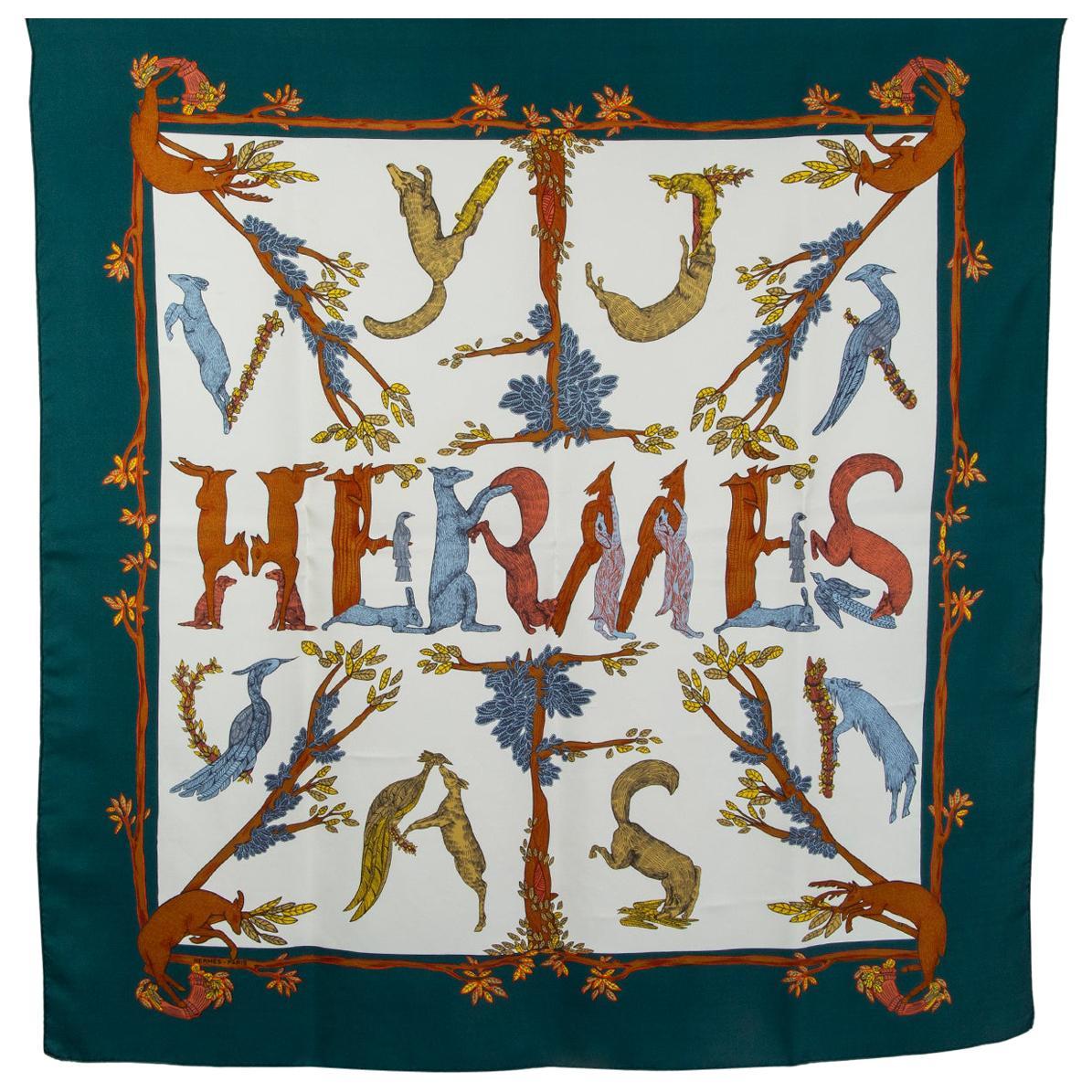 Hermes blue white ALPHABET 3 90 silk twill Scarf
