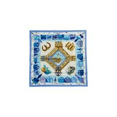 """Hermes Blue White """"Charmes des Plages Normandes"""" 70cm Cotton Scarf"""