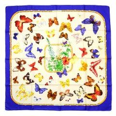 "Hermes Blue/White ""Farandole"" Butterfly Print 90cm/36"" Silk Scarf by Caty Latham"