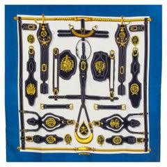 Hermes blue & white HARNAIS DES PRESIDENTS 90 silk twill Scarf