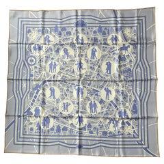 Hermes Blue/White Les Nouveaux Amoureux de Paris 90cm Silk Scarf by Pierre Marie