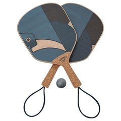 Hermes NEW Blue Wood Cork Logo Men's Women's Novelty Game Ping Pong Racquet Set