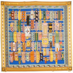 HERMES blue yellow COLLIERS DE CHIENS 90 silk twill Scarf