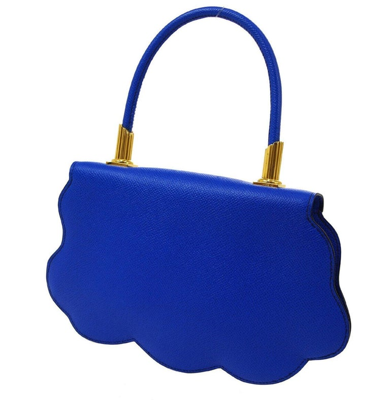 Women's Hermes Blue Yellow White Leather Sac Small Top Handle Kelly Satchel Evening Bag For Sale