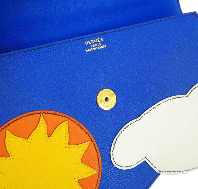 Hermes Blue Yellow White Leather Sac Small Top Handle Kelly Satchel Evening Bag For Sale 3