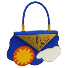 Hermes Blue Yellow White Leather Sac Small Top Handle Kelly Satchel Evening Bag