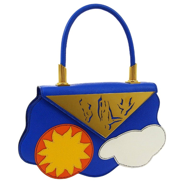 Hermes Blue Yellow White Leather Sac Small Top Handle Kelly Satchel Evening Bag For Sale