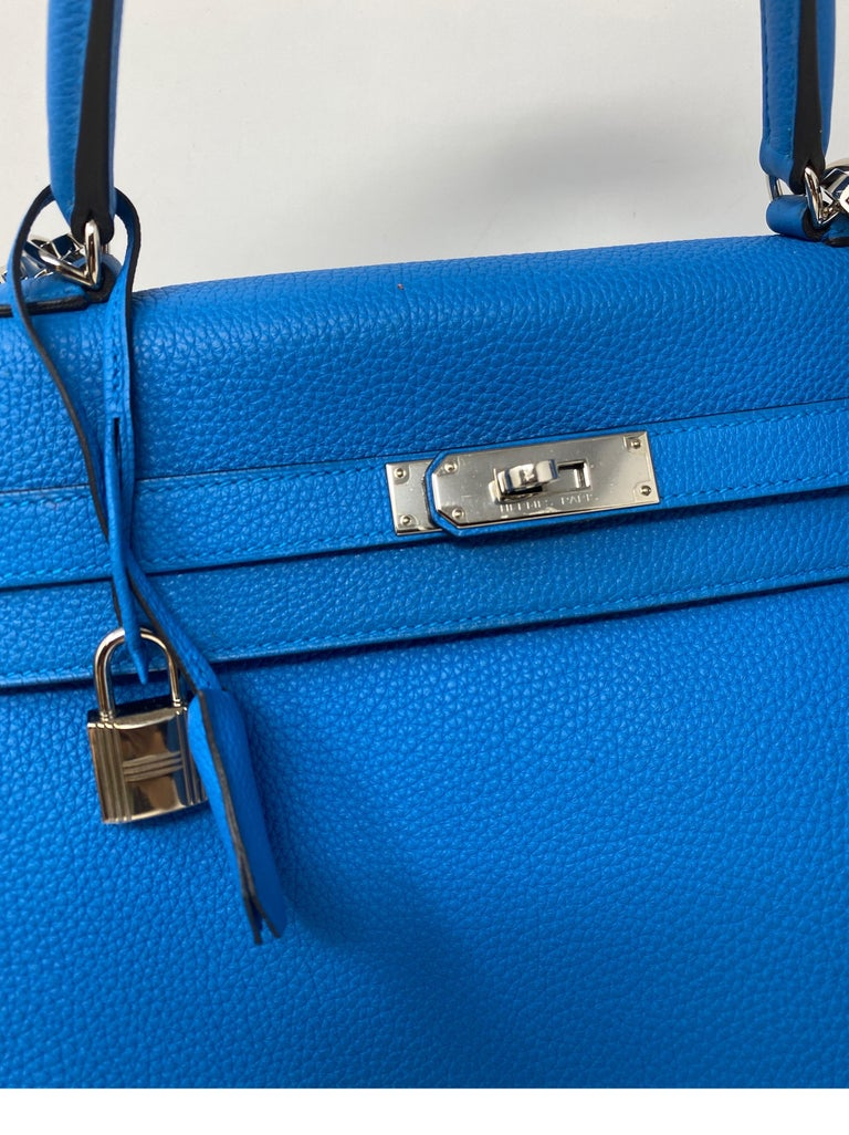 Hermes Blue Zanzibar Kelly 35 Bag  For Sale 6