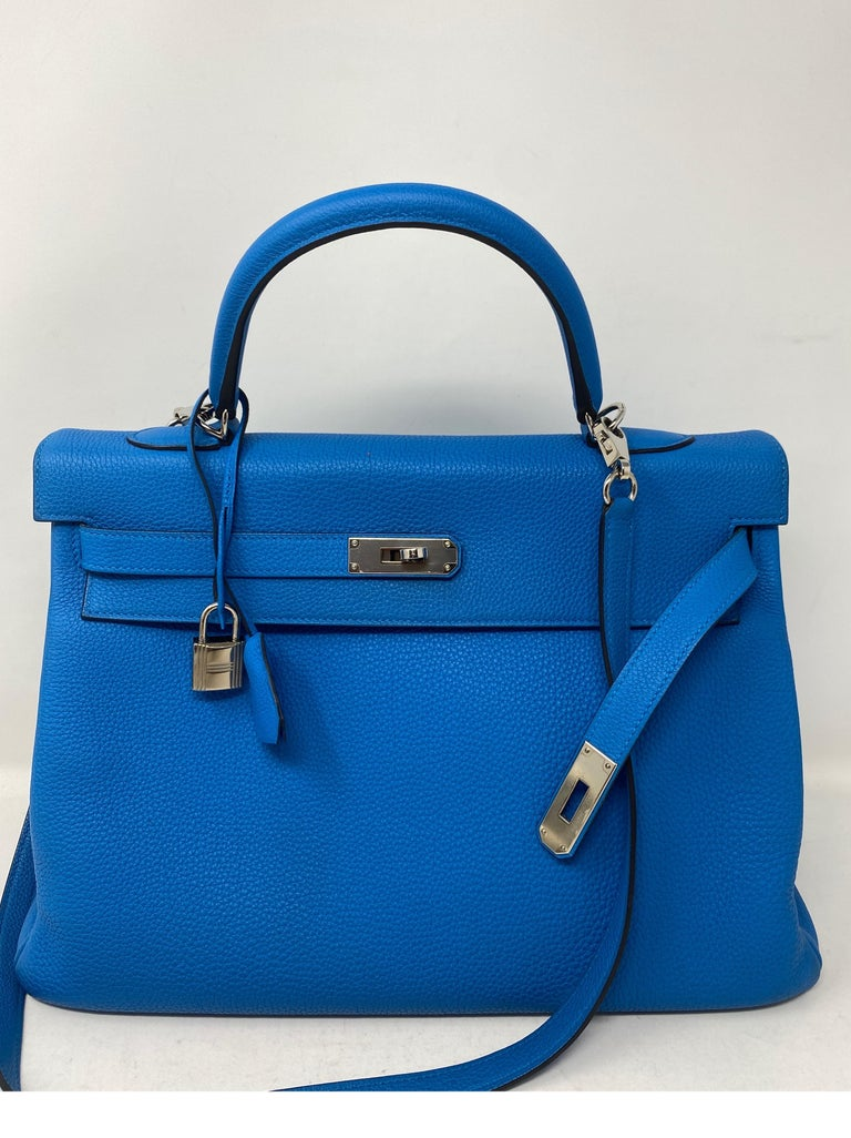 Hermes Blue Zanzibar Kelly 35 Bag  For Sale 7