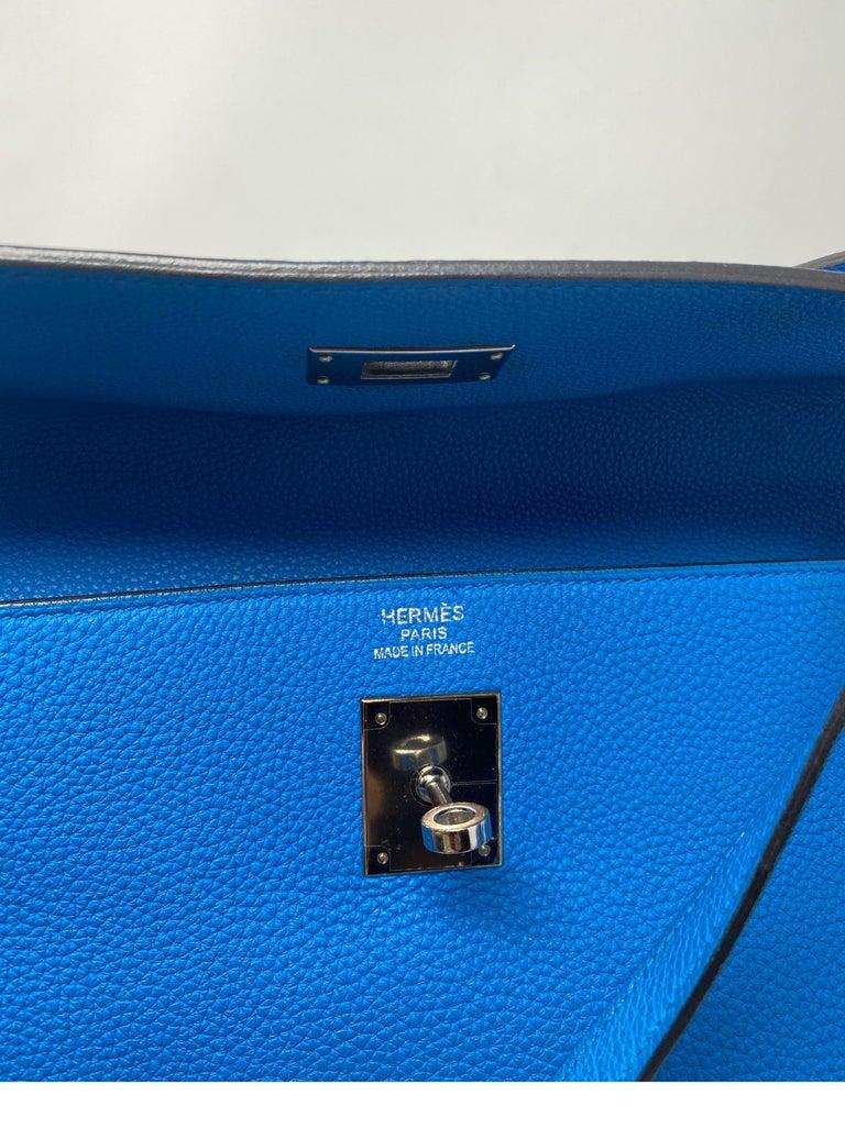 Hermes Blue Zanzibar Kelly 35 Bag  For Sale 8