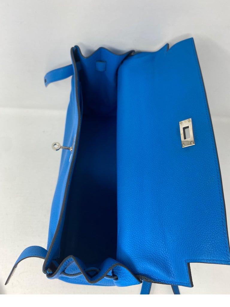 Hermes Blue Zanzibar Kelly 35 Bag  For Sale 9