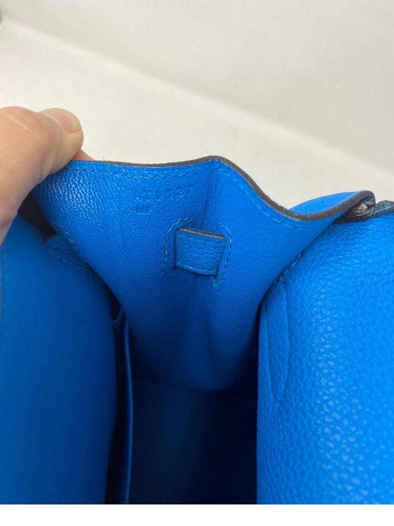 Hermes Blue Zanzibar Kelly 35 Bag  For Sale 10