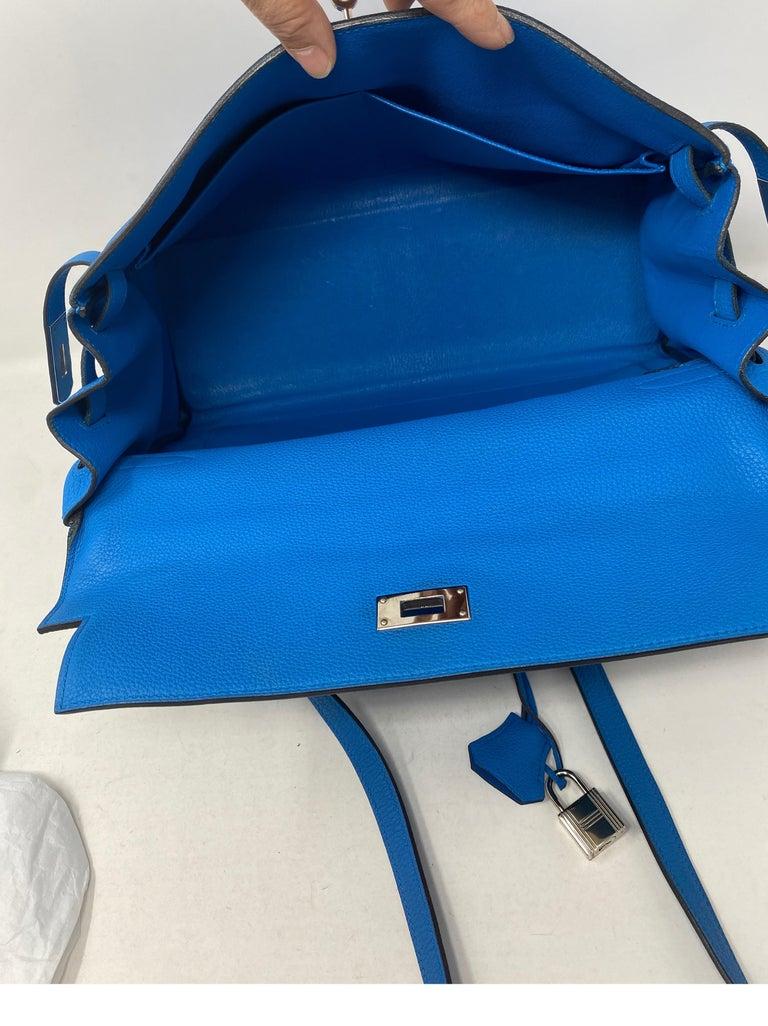 Hermes Blue Zanzibar Kelly 35 Bag  For Sale 11