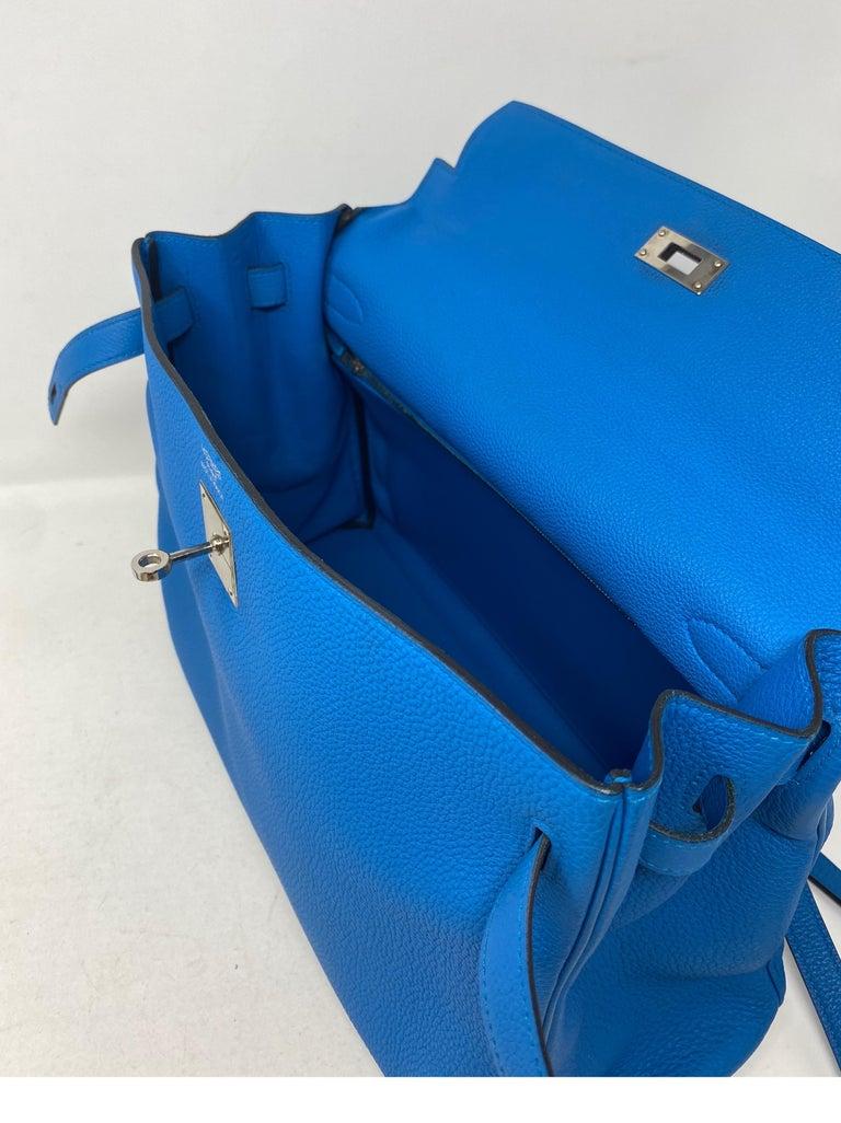 Hermes Blue Zanzibar Kelly 35 Bag  For Sale 12