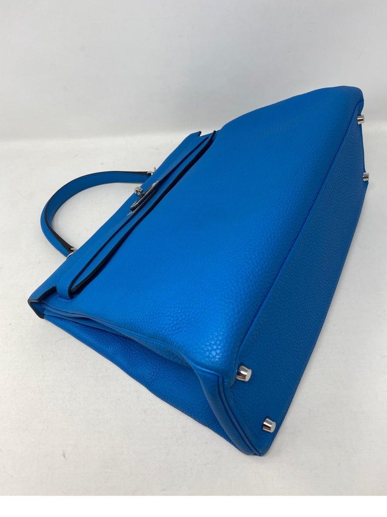 Women's or Men's Hermes Blue Zanzibar Kelly 35 Bag  For Sale