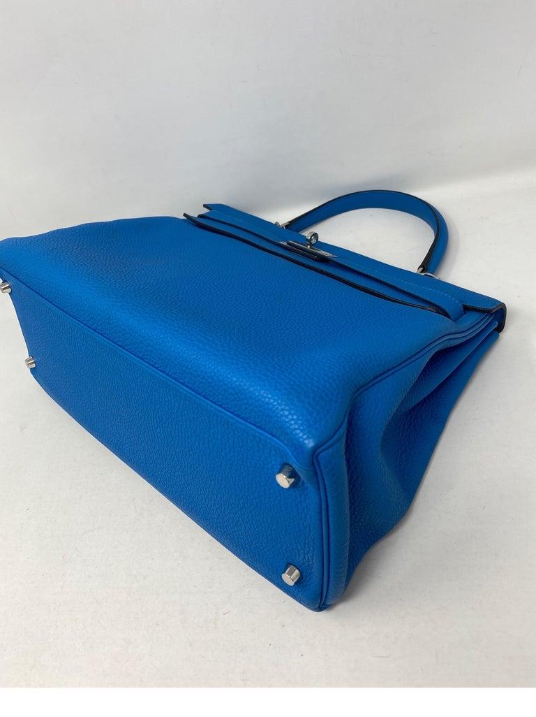 Hermes Blue Zanzibar Kelly 35 Bag  For Sale 1
