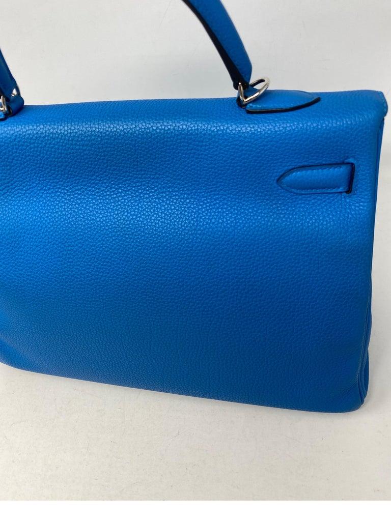 Hermes Blue Zanzibar Kelly 35 Bag  For Sale 2