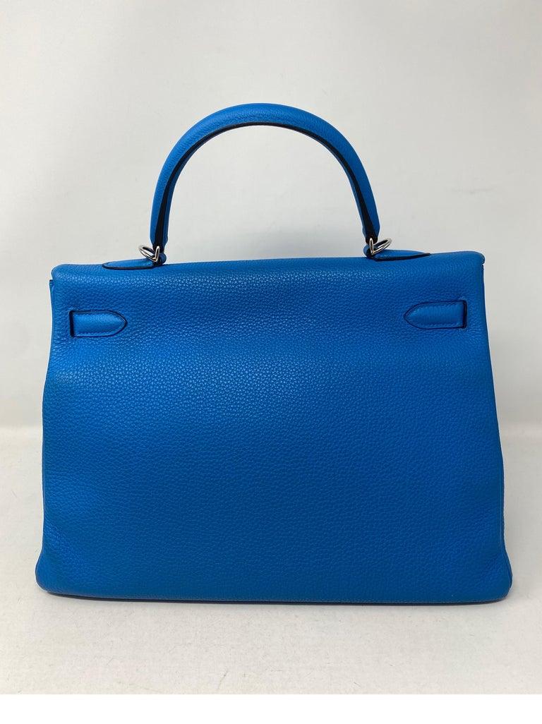 Hermes Blue Zanzibar Kelly 35 Bag  For Sale 3