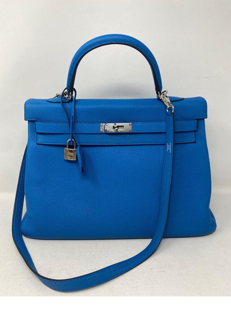 Hermes Blue Zanzibar Kelly 35 Bag  For Sale 4