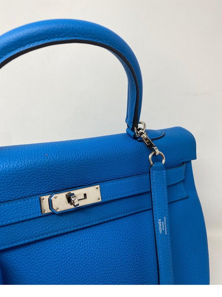 Hermes Blue Zanzibar Kelly 35 Bag  For Sale 5