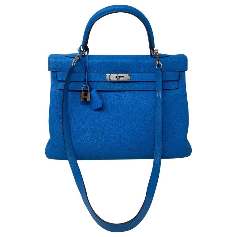 Hermes Blue Zanzibar Kelly 35 Bag  For Sale