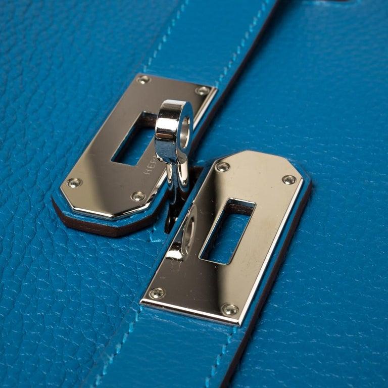 Hermes Blue Zanzibar Togo Leather Palladium Hardware Jypsiere 37 Bag For Sale 6