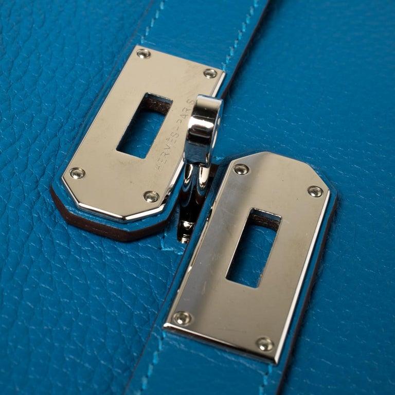 Hermes Blue Zanzibar Togo Leather Palladium Hardware Jypsiere 37 Bag For Sale 7