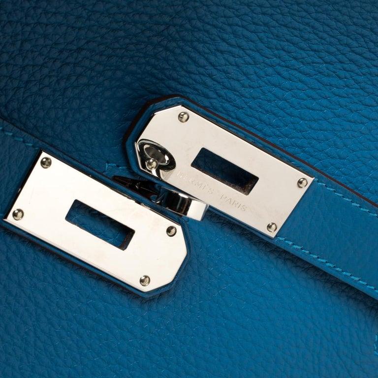 Hermes Blue Zanzibar Togo Leather Palladium Hardware Jypsiere 37 Bag For Sale 8