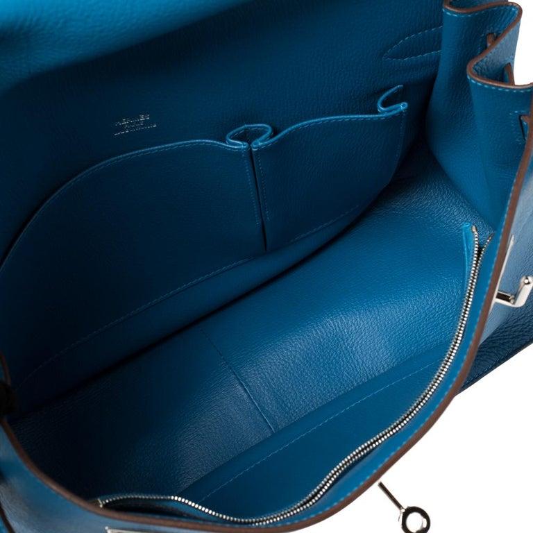 Hermes Blue Zanzibar Togo Leather Palladium Hardware Jypsiere 37 Bag For Sale 10