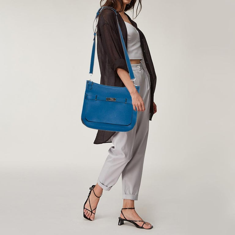 Hermes Blue Zanzibar Togo Leather Palladium Hardware Jypsiere 37 Bag In Good Condition For Sale In Dubai, Al Qouz 2