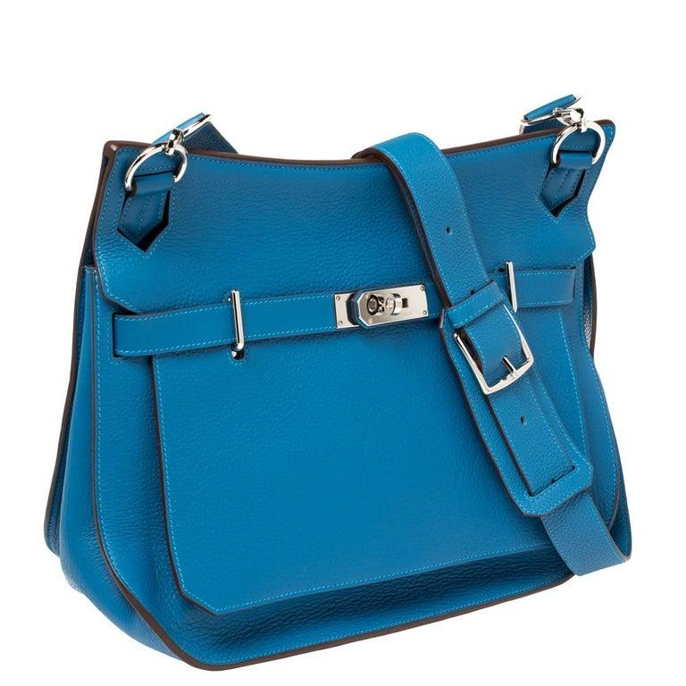 Women's Hermes Blue Zanzibar Togo Leather Palladium Hardware Jypsiere 37 Bag For Sale