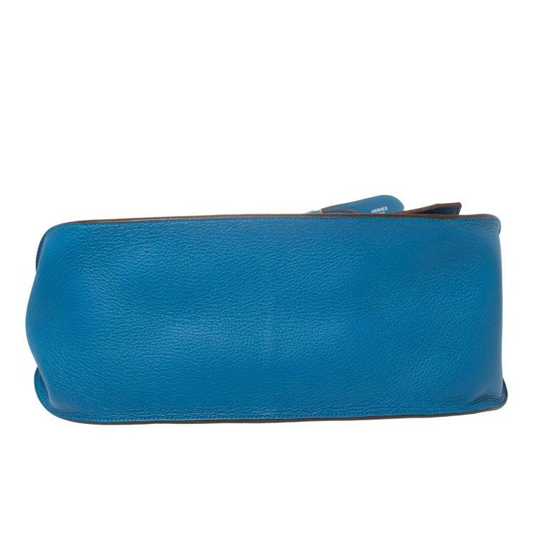 Hermes Blue Zanzibar Togo Leather Palladium Hardware Jypsiere 37 Bag For Sale 1