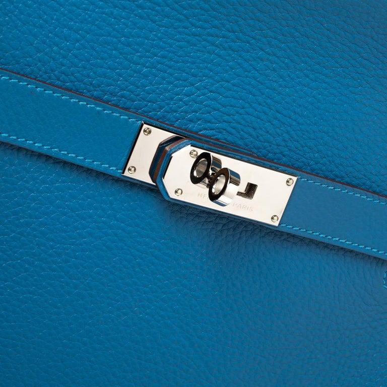 Hermes Blue Zanzibar Togo Leather Palladium Hardware Jypsiere 37 Bag For Sale 2