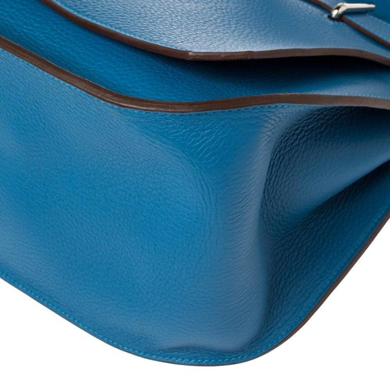 Hermes Blue Zanzibar Togo Leather Palladium Hardware Jypsiere 37 Bag For Sale 3