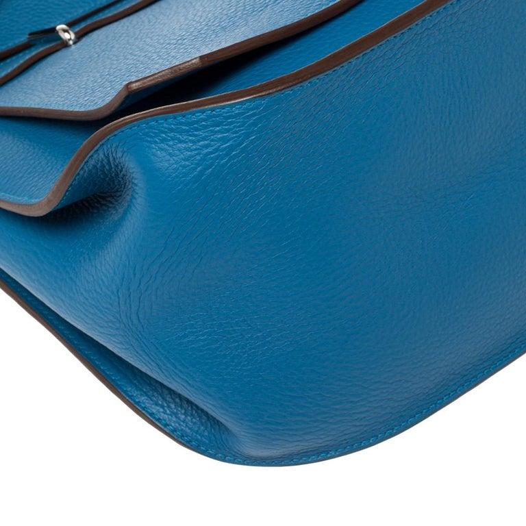 Hermes Blue Zanzibar Togo Leather Palladium Hardware Jypsiere 37 Bag For Sale 4