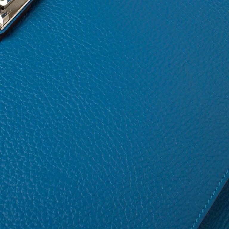 Hermes Blue Zanzibar Togo Leather Palladium Hardware Jypsiere 37 Bag For Sale 5