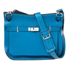 Hermes Blue Zanzibar Togo Leather Palladium Hardware Jypsiere 37 Bag