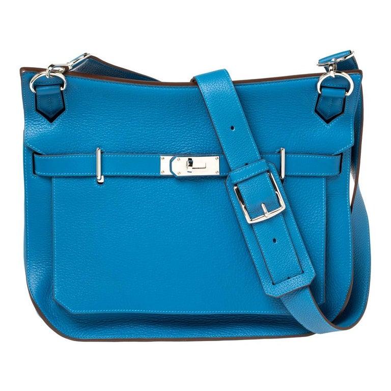Hermes Blue Zanzibar Togo Leather Palladium Hardware Jypsiere 37 Bag For Sale