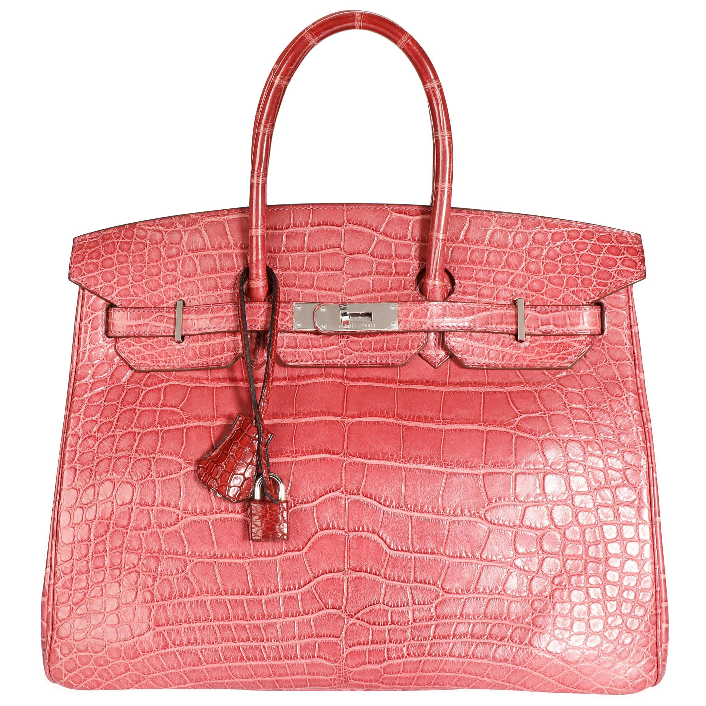 Hermès Bois De Rose Matte Alligator Birkin 35 PHW