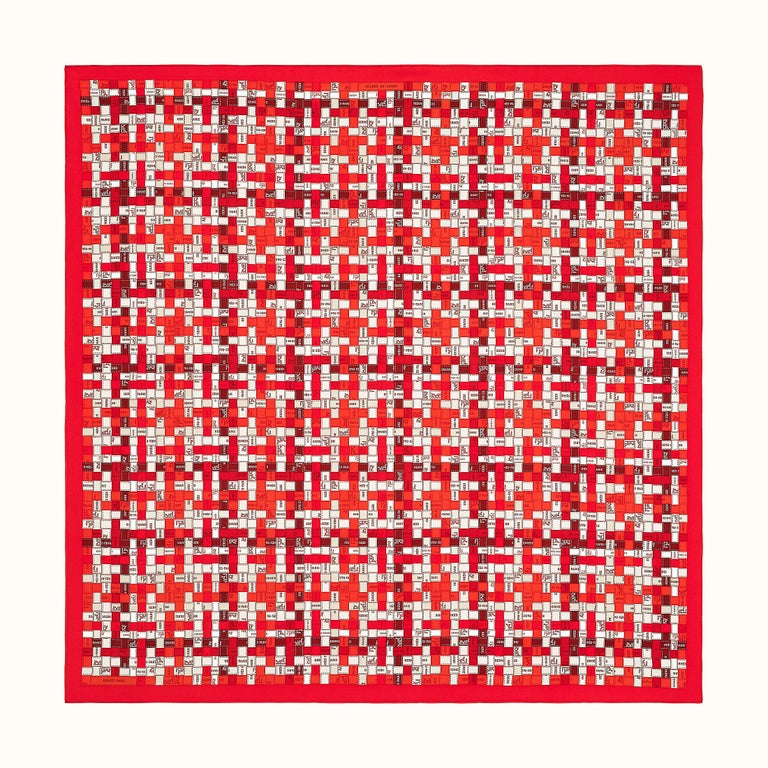 Women's or Men's Hermes Bolduc Silk Scarf au Carre Rouge Bordeaux Gris  Scarf 90  For Sale