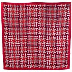 Hermes Bolduc Silk Scarf au Carre Rouge Bordeaux Gris  Scarf 90