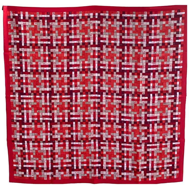 Hermes Bolduc Silk Scarf au Carre Rouge Bordeaux Gris  Scarf 90  For Sale