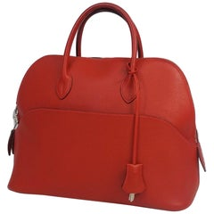 HERMES Boledo1923 Womens handbag red x silver hardware