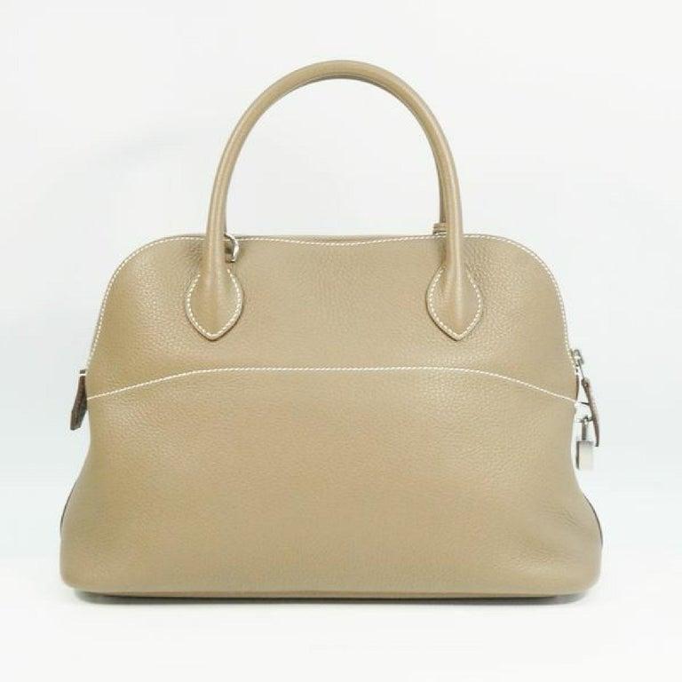 Brown HERMES Boledo31 Womens handbag Etooope x silver hardware For Sale