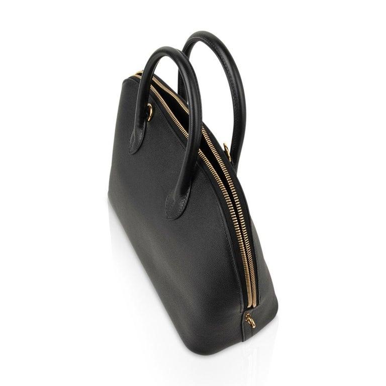 Hermes Bolide 1923 Bag Black Taurillon Novillo Leather Gold Hardware For Sale 6