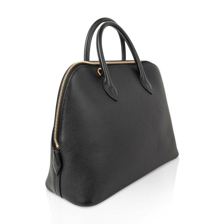 Hermes Bolide 1923 Bag Black Taurillon Novillo Leather Gold Hardware In New Condition For Sale In Miami, FL
